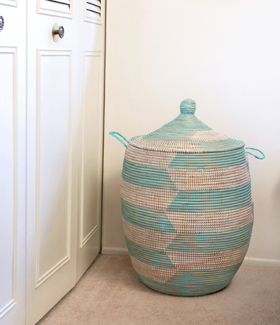 Handwoven Hamper Storage Basket, Aqua & White, Fair Trade, Eco-Friendly - Give Back Goods