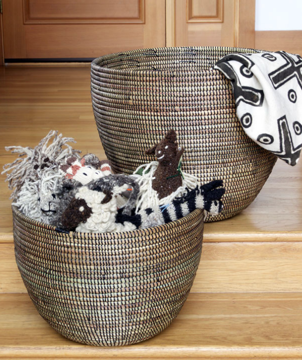 Set of Two Handwoven Cattail Nesting Baskets (White or Brown), Fair Trade - Give Back Goods