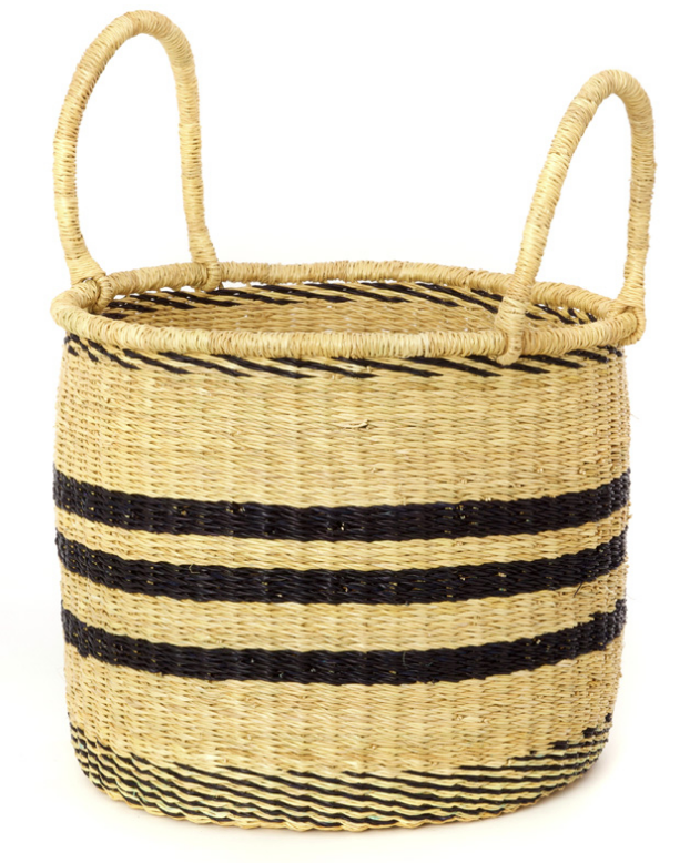 3 Handwoven Striped Elephant Grass Nesting Baskets, Fair Trade, Eco-Friendly - Give Back Goods