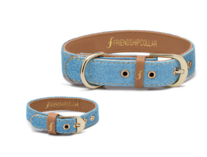 Light Denim Dog Collar and Matching Bracelet For You! - Vegan - Feeds 4 shelter pups! - Give Back Goods