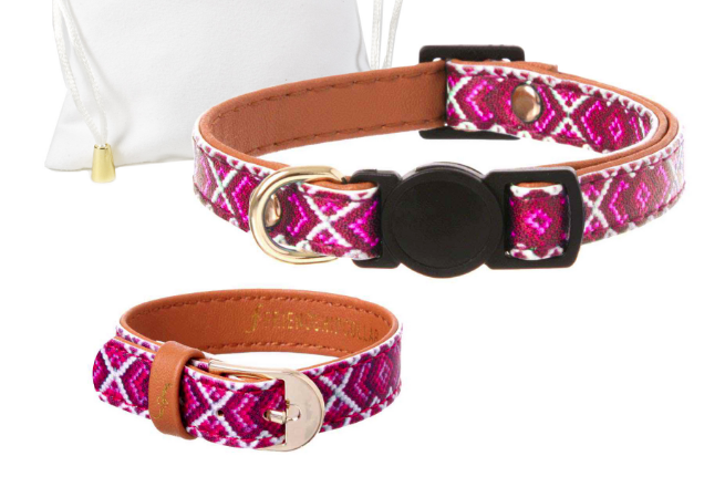 Pink Vegan Cat Collar and Matching Bracelet- Feeds 3 Shelter Animals! - Give Back Goods