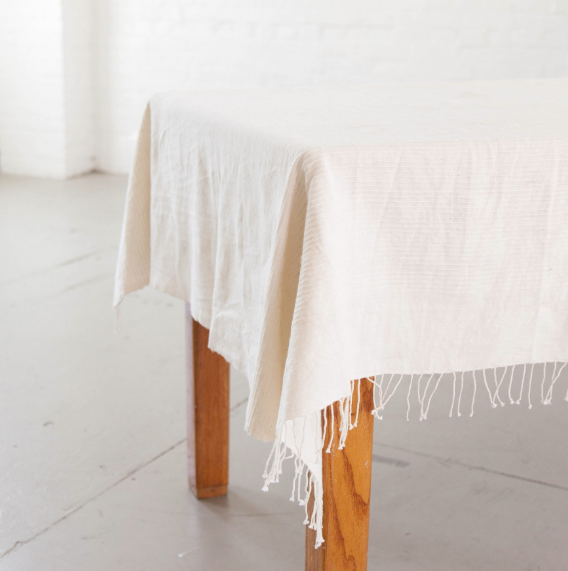 Hand woven Ethiopian Cotton Riviera Tablecloth - Eco-Friendly, Fair Trade - Give Back Goods