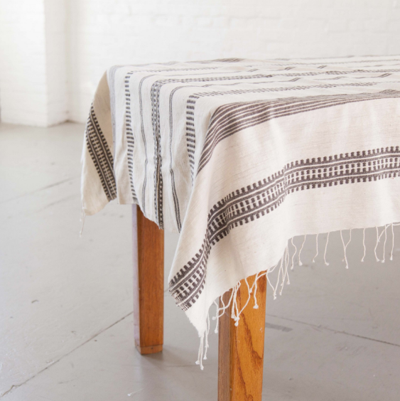 Hand woven Ethiopian Cotton Arden Tablecloth - Eco-Friendly, Fair Trade - Give Back Goods
