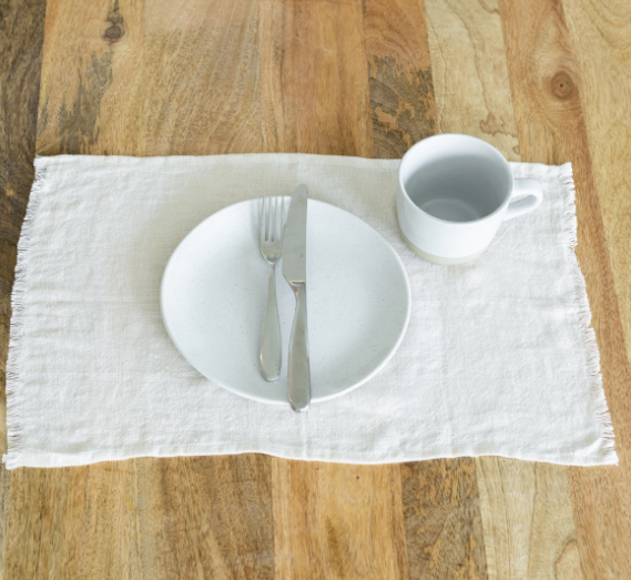 set of 4 Hand Woven Stone washed Linen Placemat (pick your color) - Eco-Friendly, Fair Trade - Give Back Goods