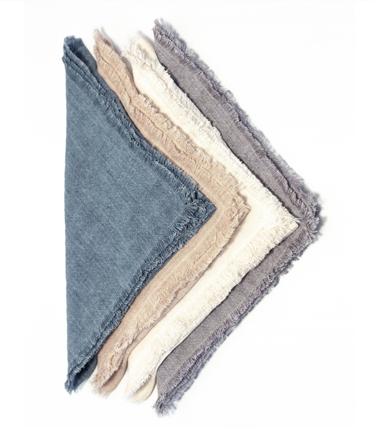 Set of 4- Hand Woven Stone Washed Linen Dinner Napkins- Eco-Friendly, Fair Trade - Give Back Goods