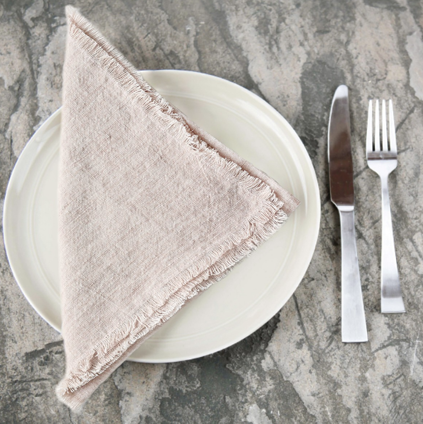 Copy of Set of 4- Hand Woven Stone Washed Linen Dinner Napkins- Eco-Friendly, Fair Trade - Give Back Goods