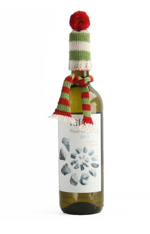 Set of 4 Vino bottle topper with Green Striped hat and scarf, Handmade, Fair Trade - Give Back Goods