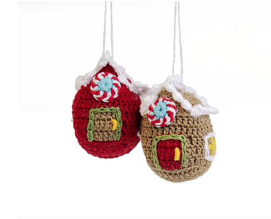 Set of 2 Hand Crocheted Ginger Bread House Ornaments,  Fair Trade - Give Back Goods