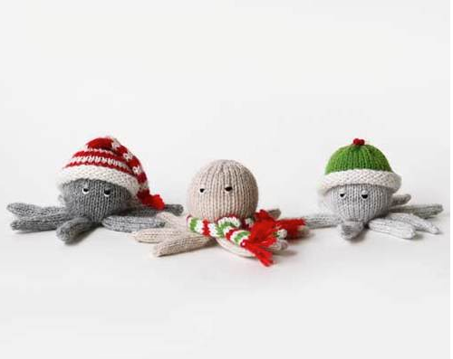 Set of 6- Hand knit Octopus Ornaments- Fair Trade - Give Back Goods