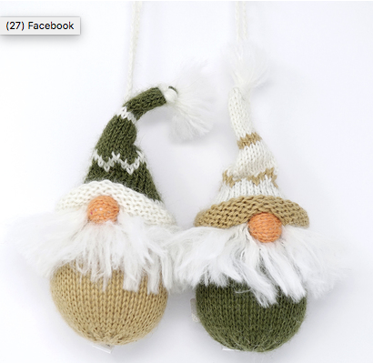 Set of 6- Hand knit Nordic Gnomes Ornaments- Fair Trade - Give Back Goods