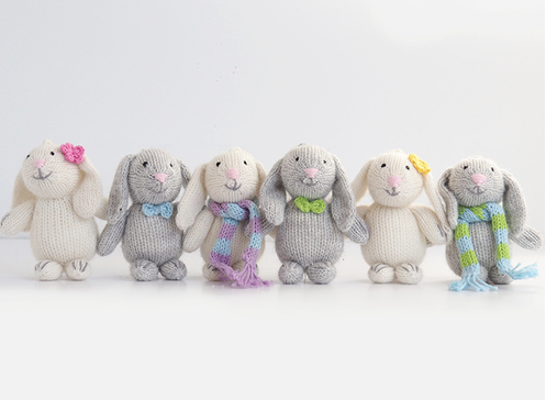 Set of 6- Hand knit Bunny Ornaments- Fair Trade - Give Back Goods
