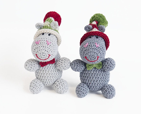 Set of 3- Hand Crocheted Hippo Ornaments- Fair Trade - Give Back Goods