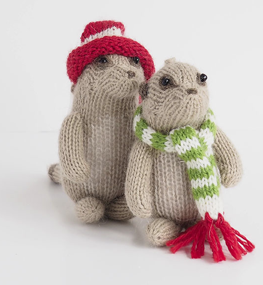 Set of 6- Hand Knit Meerkat Ornaments - Fair Trade - Give Back Goods