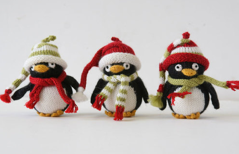 Set of 6- Handknit Penguin Ornaments - Fair Trade - Give Back Goods