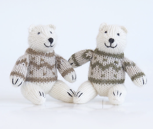 Set of 2- Sitting Polar Bear Ornaments - Fair Trade - Give Back Goods
