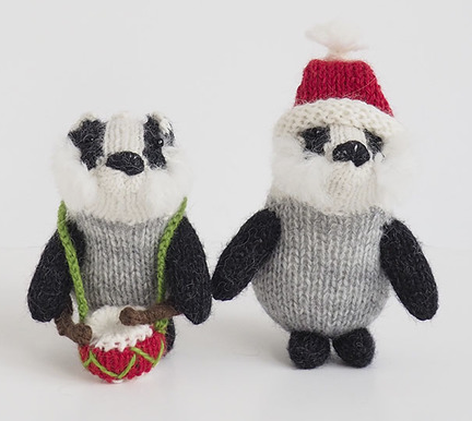 Handknit Set of 2- Badger Ornaments with Drums - Fair Trade - Give Back Goods