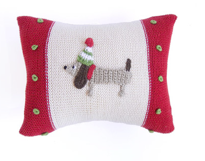 Hand-knit Mini Dachshund Dog Christmas Pillow,  Fair Trade - Give Back Goods