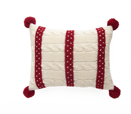 Mini Hand Knit Cable Christmas Pillow with Red Stripes & Pom Poms - Fair Trade - Give Back Goods