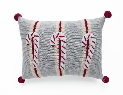 Mini Hand Knit Candy Canes Christmas Pillow, Stripes & Pom Poms, Fair Trade - Give Back Goods