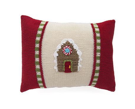 Hand Knit mini Gingerbread House Christmas Pillow, Fair Trade - Give Back Goods