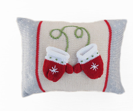 Hand Knit Christmas Pillow with Mini Mittens, Fair Trade - Give Back Goods