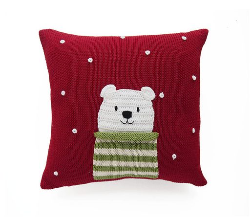 Hand Knit Polar Bear Holiday Christmas Pillow, Fair Trade - Give Back Goods