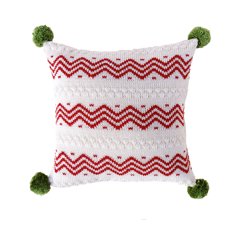Hand Knit Red Zig Zag Christmas Pillow with Pom Poms, Fair Trade - Give Back Goods
