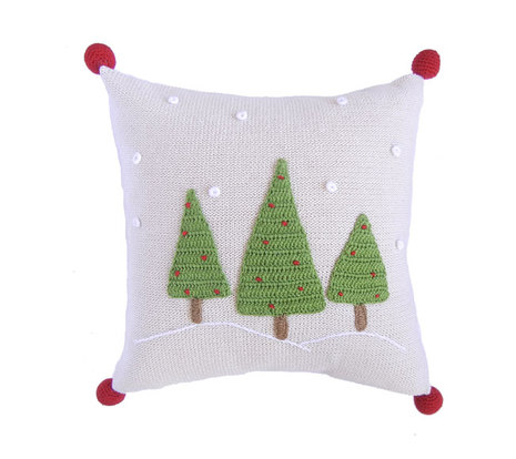 Hand Knit Christmas Pillow- Three Christmas Trees With Snow & Pom Poms, Fair Trade - Give Back Goods