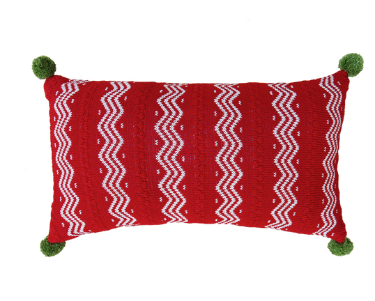 Hand Knit Red Christmas Pillow Zig Zag Stripes & pom poms, Fair Trade - Give Back Goods