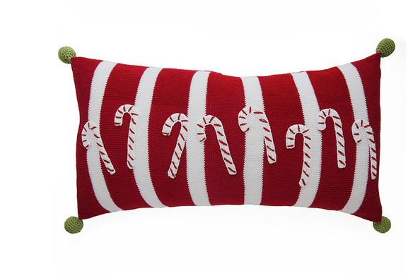 Hand Knit Christmas Pillow, Red Stripes, Candy Canes & Poms, Fair Trade - Give Back Goods