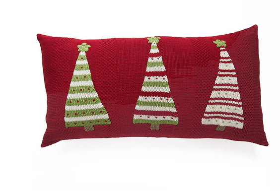 10x20- Hand Knit Christmas Pillow- 3 Xmas Trees- Fair Trade - Give Back Goods