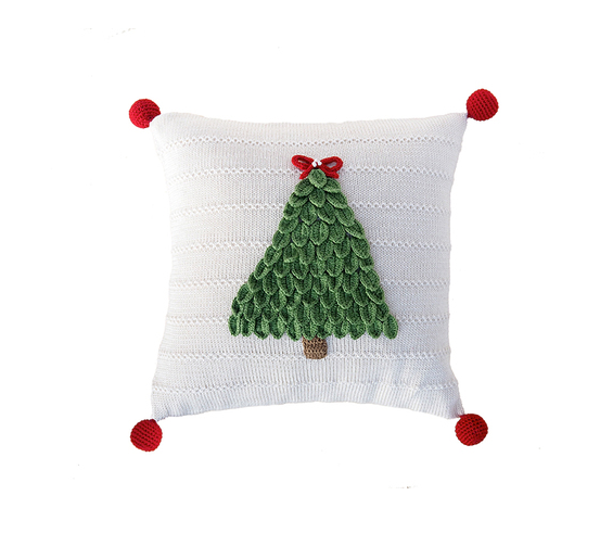 12x12 Hand Knit Christmas Tree Pillow, Pom Poms,  Fair Trade - Give Back Goods