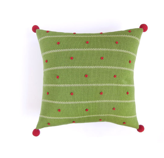 Green French Knot Hand Knit Christmas Pillow, 14x14, Pom Poms, Fair Trade - Give Back Goods