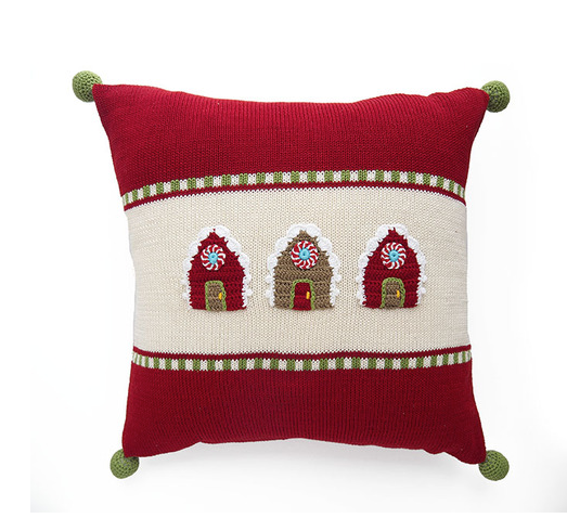 Hand Knit Gingerbread House Christmas Pillow- 14x14, Pom Poms,  Fair Trade - Give Back Goods