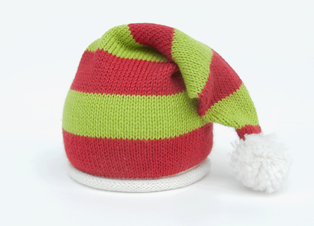 Santa Striped Baby Hat with Pom , Support Fair Trade for Artisans - Give Back Goods