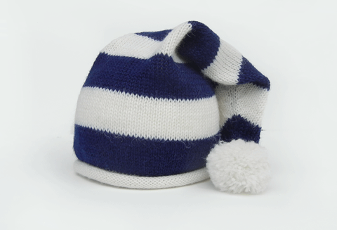 Striped Hand Knit Baby Hat with Pom (blue & white striped) - Fair Trade - Give Back Goods