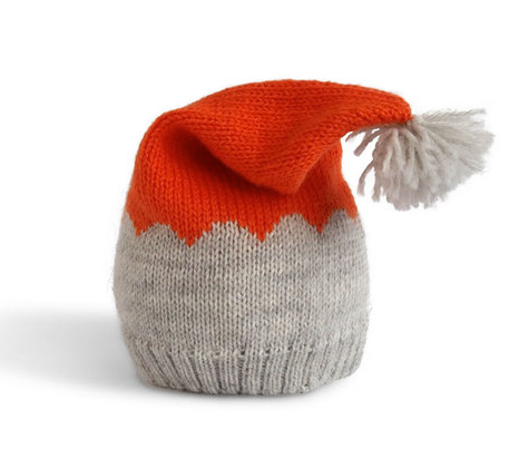 Hand Knit Baby / Toddler Hat with Pom (orange & grey) - Fair Trade