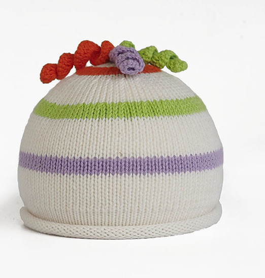 Striped Hand Knit Baby Hat with curly top - Fair Trade - Give Back Goods
