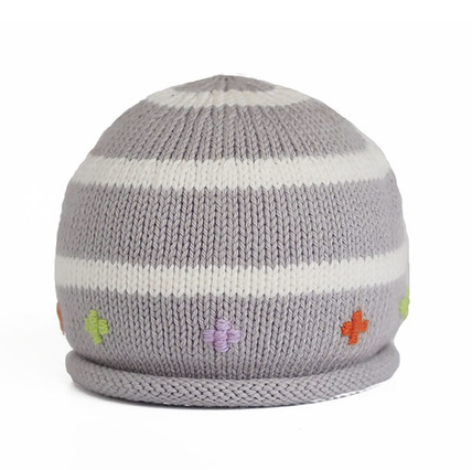 Striped Hand Knit grey Baby Hat with embroidery - Fair Trade - Give Back Goods