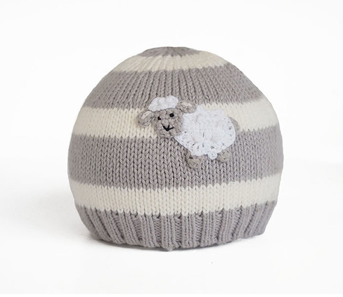 Handmade Striped Grey Sheep Baby Hat - Fair Trade - Give Back Goods