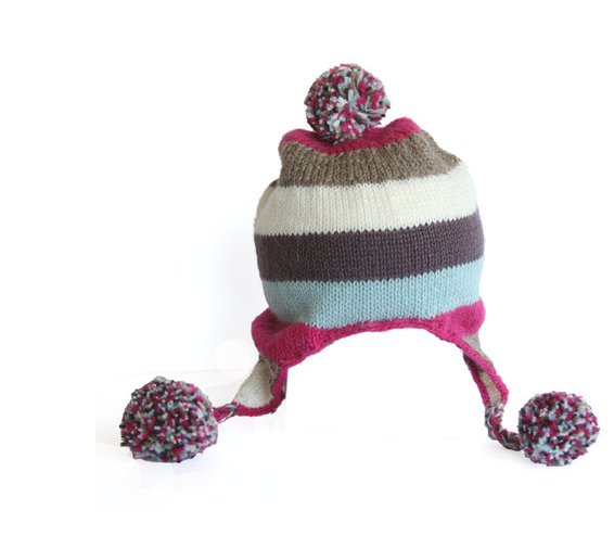 Alpaca Handmade Knit Striped Baby/ Toddler Hat with Ear Flaps & Poms - Fair Trade - Give Back Goods