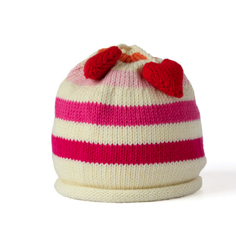 Handmade Cotton Knit Striped Baby/Toddler Hat with heart tassles - Fair Trade - Give Back Goods