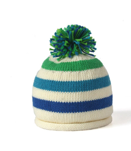 Handmade Cotton Knit Striped Baby/Toddler StripedHat with Pom - Fair Trade - Give Back Goods