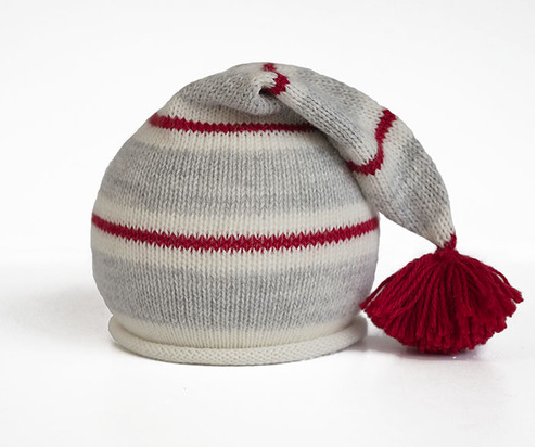 Handmade Knit Striped Baby or Toddler Santa Hat with Pom, Fair Trade - Give Back Goods