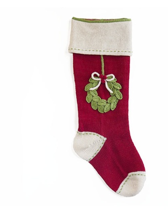 Hand made Wreath Christmas Stocking- Fair Trade- Supports Artisan Women in Armenia