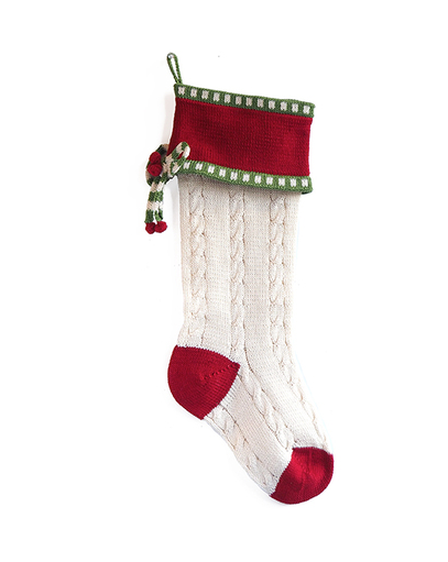 Hand made Cable Christmas Stocking- Fair Trade- Supports Artisan Women in Armenia - Give Back Goods