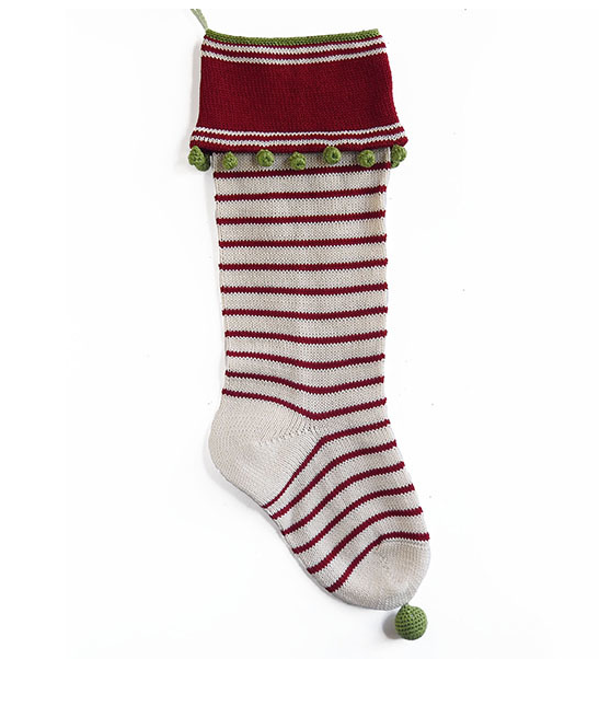 Hand Knit Thin Red Stripe Christmas Stocking, Fair Trade, Support Women in Armenia - Give Back Goods