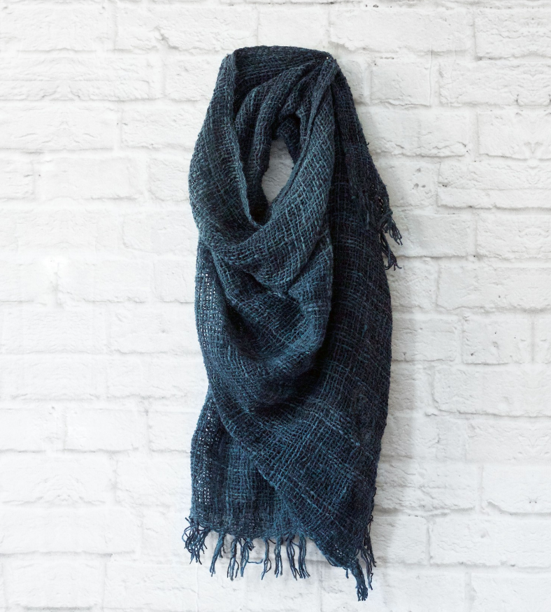Open-Weave Kenya Wool Shawl / Throw-Indigo- Eco-Friendly, Fair Trade - Give Back Goods