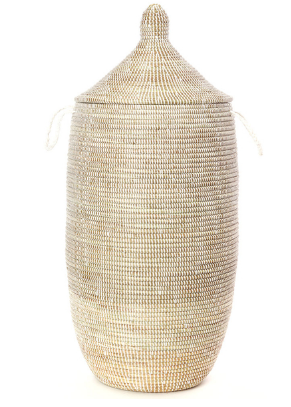 Slender Laurel Hamper/ Basket- Fair Trade, Educates Artisans- Eco-Friendly - Give Back Goods
