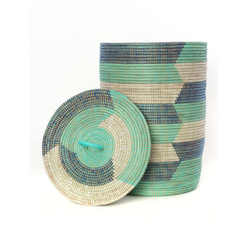 Set of Three Handwoven Cattail Blue & Green Hamper Baskets, Fair Trade - Give Back Goods